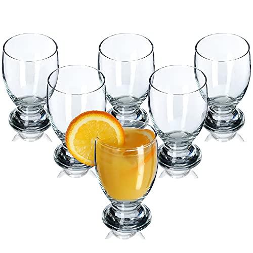 KADAX Wassergläser, 6er Set, dekoratives Gläserset, transparente Gläser mit Stiel, Saftgläser mit dicken Wänden, Trinkgläser für Wasser, Limonade (250ml, Marie)
