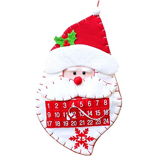 YuKeShop Christmas Advent Calendar, Christmas 24 Days Countdown Calendar Santa Claus Cartoon Calendar Family Hotel Shop Window Decoration Children Gifts