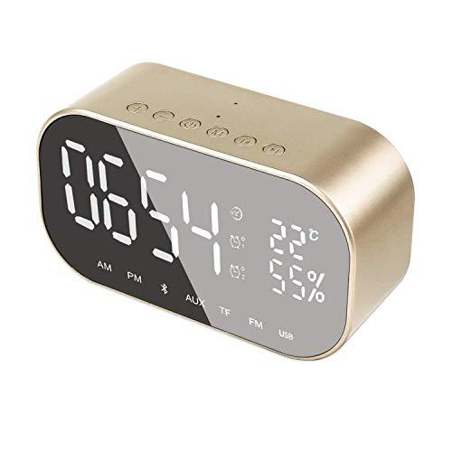 Kaper Go Goldene drahtlose Digitale wecker Bluetooth 4.2, Stereo Lautsprecher led Spiegel kleine Lautsprecher, unterstützung fm Radio, eingebautes mikrofon, metallgehäuse