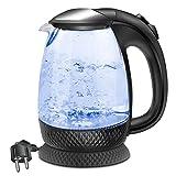 EXTRASTARBollitore Acqua Elettrico, Bollitore da 1,7L in vetro con indicatore luminoso a LED blu, bollitore elettrico senza BPA con spegnimento automatico e protezione da bollitura a secco, nero