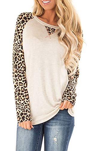 CYVESOULA Womens Long Sleeve Top Round Neck Triple Color Block Stripe T-Shirt Casual Blouses Tops (Leopard+Khaki, S)