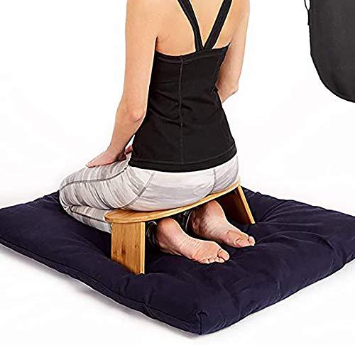 Banco de Meditación Plegable, Taburete de Yoga Simple, Taburete Arrodillarse, Banco Ergonómico de Bambú para Yoga, Incluye Bolsa de Transporte