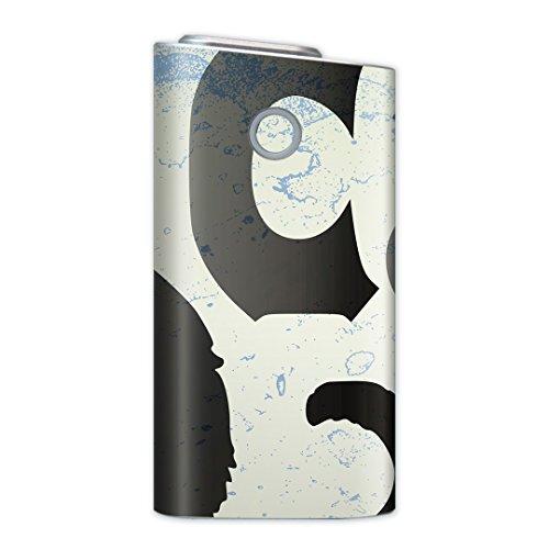 glo グロー グロウ 専用スキンシール 裏表2枚セット カバー ケース 保護 フィルム ステッカー デコ アクセサリー 電子たばこ タバコ 煙草 喫煙具 デザイン おしゃれ glow アニマル 猫 黒 ブラック インク ペンキ 008317