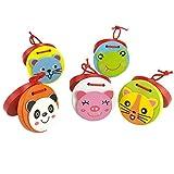 Greatangle Adorable Niños Instrumento Musical Madera Castañuelas de Animales Juguete Bloque Educativo Niños pequeños Conjunto de Arrastre Multicolor