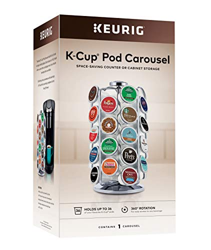 Keurig Storage Carousel, Coffee Pod Storage, Holds up to 36 Keurig K-Cup Pods, Silver