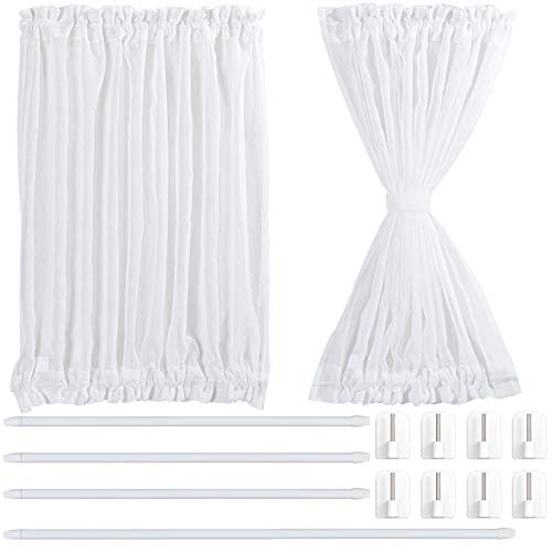 2 Tende Bianca del Pannello della Porta Francese Pannello per Tenda Tascabile in Voile Trasparente, 4 Bastone per Tende Regolabile e 8 Ganci Adesivi per Aste per Tende (54 x 40 Pollici)