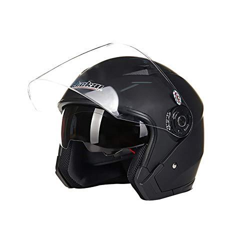 Folconauto Casco de Moto Scooter, Casco de Moto de Cara Abierta Jet Crash - Negro Mate (M)