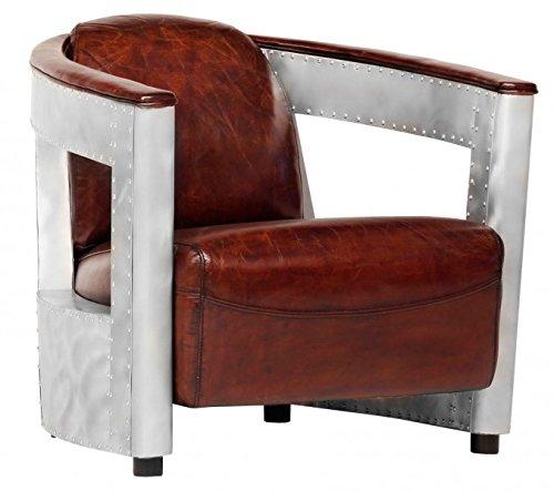 Casa Padrino Echt Leder Art Deco Sessel Chrom/Braun - Club Sessel - Lounge Sessel - Vintage Leder