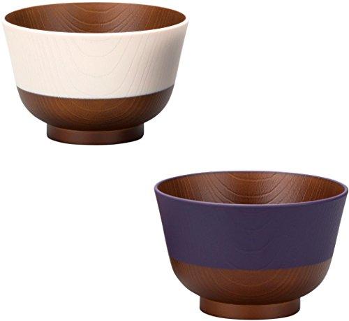 カノー汁椀茄子紺/桜色330ml日本伝統色2色入