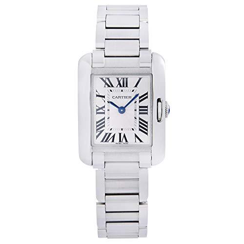 Cartier Tank Anglaise acero plata Guilloche Dial cuarzo señoras reloj W5310022