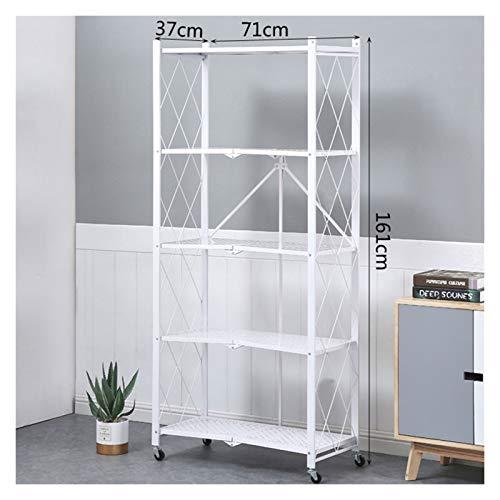 AGJFeng Carro de almacenamiento con 5 pisos, estantería de cocina, estante organizador de malla de metal negro, con ruedas 3/4/5 (color: blanco, tamaño: 4 capas)