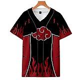 Naruto T-Shirt Unisex Camisetas Botón Béisbol Jersey Rebeca de Manga Corta Verano 3D Impresión Camisa Tops Cosplay para Amantes del Anime Hombres Mujeres Uchiha Sharingan Hokage Ninja