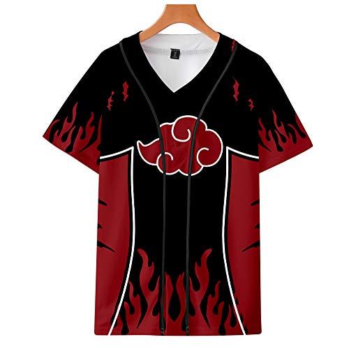 Naruto T-Shirt Unisex Camisetas Botón Béisbol Jersey