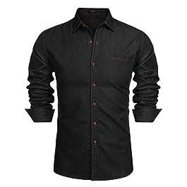 COOFANDY Mens Denim Shirts Slim Fit Casual Button Down Shirt Long Sleeve Stretch Cotton Top