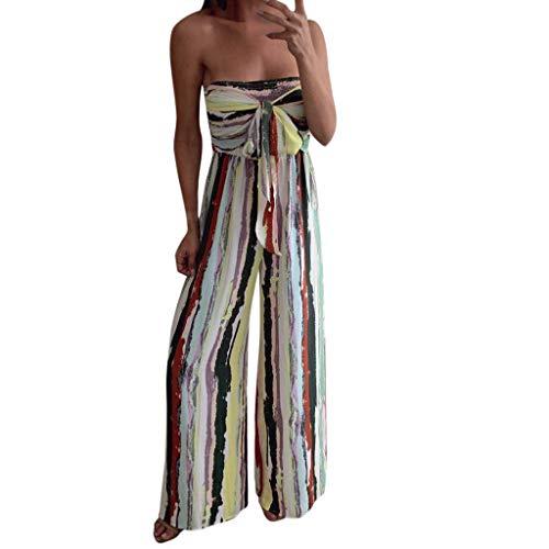 Mujer Verano De Mujer Mono Casual Largo del Modernas Elegante del Partido De Boho De Una Pieza del Hombro Raya Maxi Falda Pantalón Harén Festivo Adolescente General