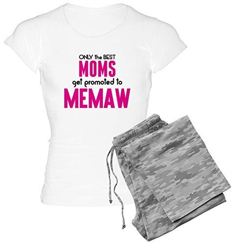 CafePress Best Moms GET Promoted to Memaw Pajamas Womens Novelty Cotton Pajama Set, Comfortable PJ Sleepwear