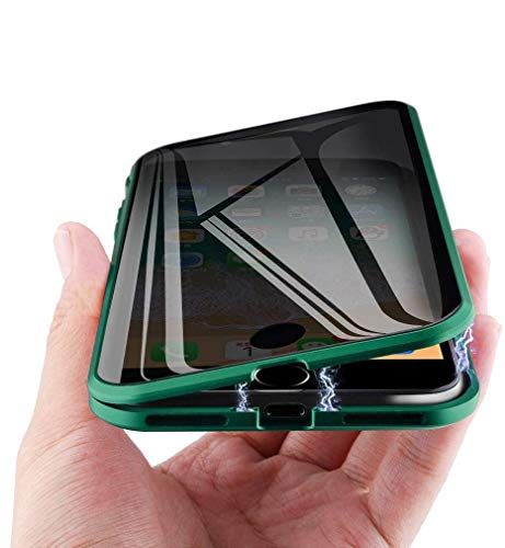 MIMEI Privacy Magnetic Case for iPhone 7/8 4.7inch Clear Double Sided Tempered Glass [Magnet Absorption Metal Bumper Frame] Thin Anti-Spy 360 Full Protective Phone Case 4.7' (Green, 7G/8G 4.7')