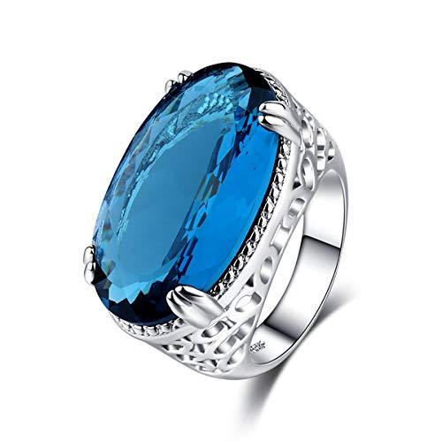 1821fang Große Hellblaue Edelstein-Ring, Versilbert Ring, Große Edelstein-Ring, Herren-Ring