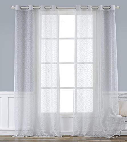 APLUS1 Cortina Alice efecto jacquard de Lurex para dormitorio, salón, baño y cocina (blanco, 140 x 280 cm)