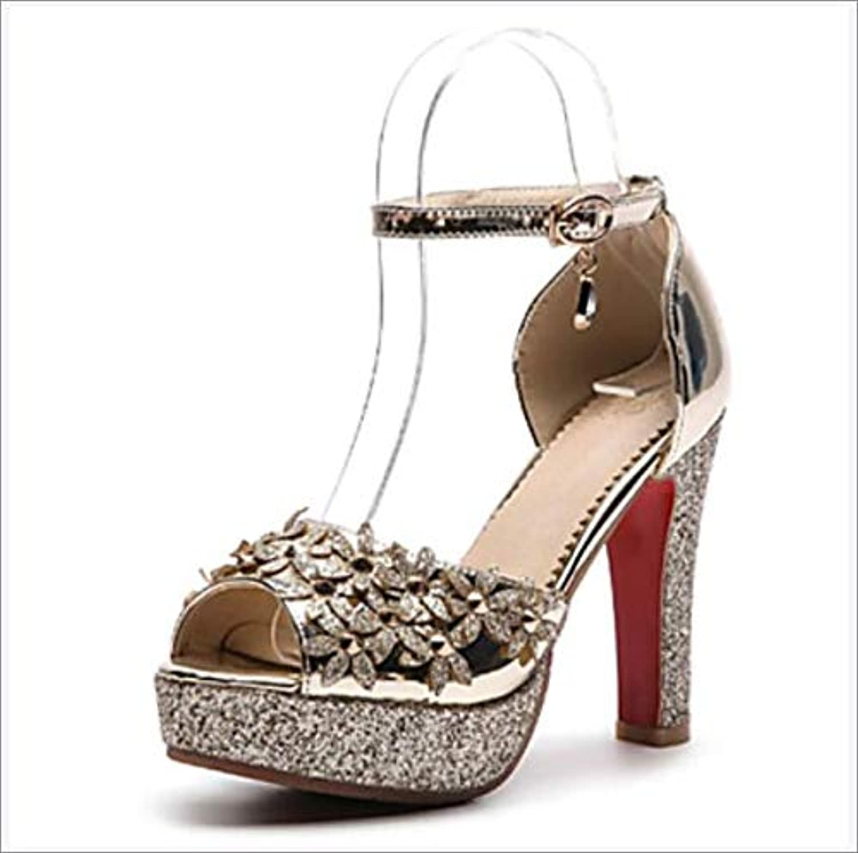 Women's shoes PU(Polyurethane) Spring & Summer Basic Pump Sandals Chunky Heel Peep Toe Buckle Wedding,A,US6.57 EU37 UK4.55 CN37