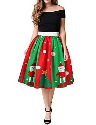 WLLW Women Vintage Christmas Santa Claus Print Swing Pleated Flared Skater Skirt