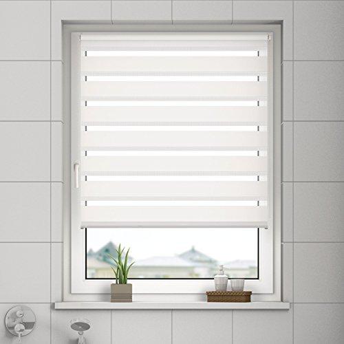 DESWIN Doppelrollo Klemmfix, Duo Rollos ohne Bohren für Fenster & türen 40 x 160 cm Weiss - (KlemmFix Duorollo mit Kettenzug, Klemmhaltern, Haltern zum Schrauben)
