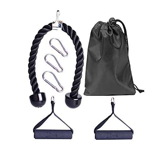 OhhGo 7 unids/set cuerda de tríceps con mosquetón manijas tríceps cuerda para entrenamiento de fuerza de brazo