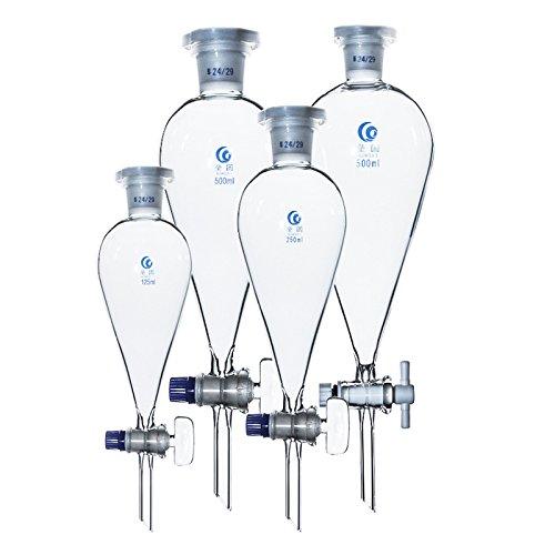 Scheidetrichter Glas Pear Form Scheidetrichter Lab Borosilikatglas Scheidetrichter Chemie Science Lab Equipment 3,3Borosilikatglas 60ml–2000ml, 19/24/29Gelenk, 250ml, 19joint, durchsichtig, 28