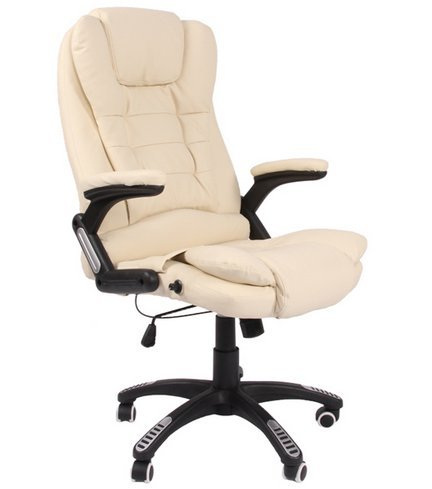 Leather high back reclining office / desk chair with massage and heat (Cream)
