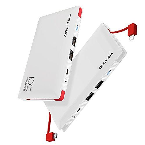 モバイルバッテリー ケーブル内蔵 大容量 10000mAh MFi認証 ライトニング/microUSBコネクタ付 2USBポート スマホ 充電器 コンパクトで持ち運び便利 iphone/ipad/Android対応 (ホワイト)
