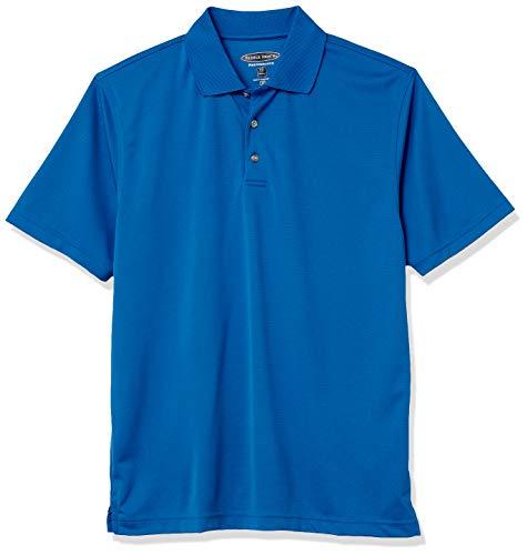 Men's Pebble Beach Golf Polo Shirt with Short Sleeve and Horizontal Textured Design, Cobalt Blue, X-Large