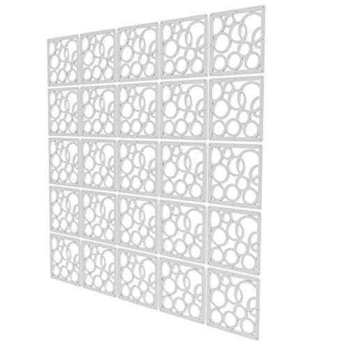 Separadores Biombo de 25 Piezas - 147x147cm - Blanco Separador Ambientes Paneles Circulo Divisor Pared Paneles para La Decoración De La Pared del Jardín del Banquete De Boda