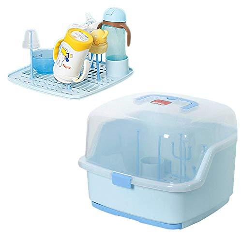 fllyingu Rack portátil para Secado de biberones con Tapa Protectora, biberón y Caja de Almacenamiento de Alimentos para bebés, Azul