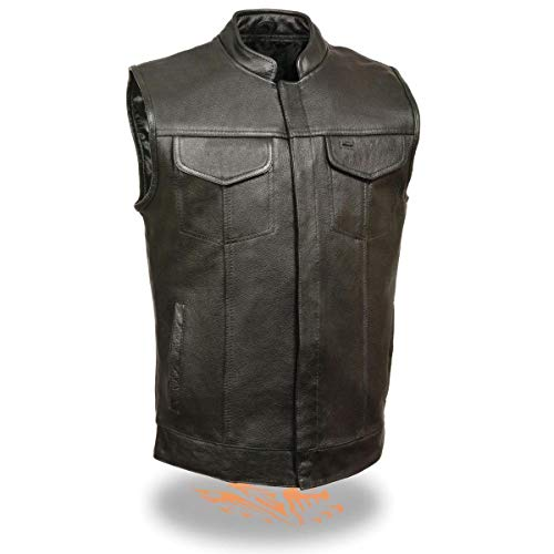 Milwaukee Leather SH2036 Men's Black 'Club' Open Neck Leather Vest with Dual Gun Pockets - Large