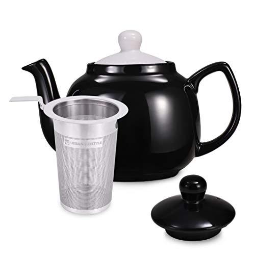 Urban Lifestyle Teekanne/Teapot Klassisch Englische Form aus Keramik mit Nicht-tropfendem Ausguss Oxford 1,2L mit Teefilter aus Edelstahl (Schwarz)