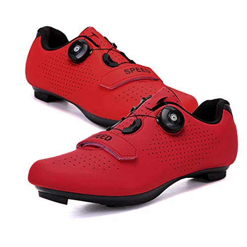 Etaclover Mens or Womens Road Bike Cycling Shoes Compatible Lock Cleats Pedal Bike Shoes Indoor/Outdoor Comfortable Red,6.5 Women/4.5 Men
