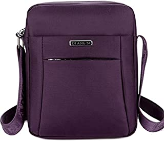 Fashion Waterproof Oxford Cloth Shoulder Messenger Bag Outdoor Simple Travel Men's Backpack (Color : Purple)