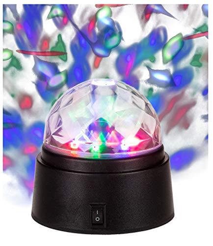Out of the Blue 144237 - Rotierende Partyleuchte mit farbigen LED, ca. 9 x 9 cm, batteriebetrieben, im Geschenkkarton