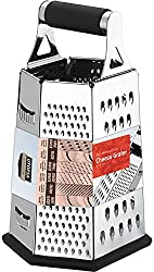 powerful Utopia Kitchen Cheese Grater, 6-sided Stainless Steel – Easy-to-use, non-slip base