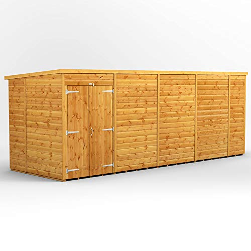 POWER | 18x6 Windowless Pent Wooden Garden Shed | Size 18 x 6 No Windows | Double Doors | Super Fast Delivery or Pick your own da