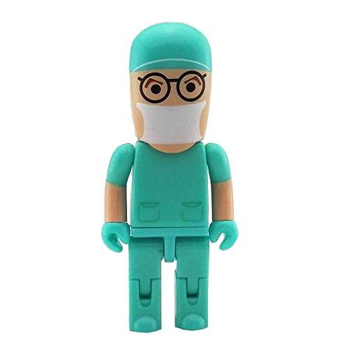 Aneew - Chiavetta USB da 32 GB, per infermiere e ospedali, dottore robot, colore: rosa Dottore verde. 32 Gb