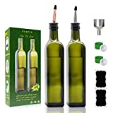 Olive Oil Dispenser Bottle-2 Pack of 17 oz Glass Olive Oil Bottles with Easy Pour Spout Set - Oil and Vinegar Cruet Set with Food Grade Funnel Drip Free Olive Oil Carafe Decanter for Kitchen