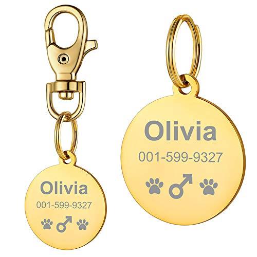 PROSTEEL Etiquetas de identificación de Mascotas de Acero Inoxidable Etiquetas de Perro Personalizadas Placa Redonda Chapado en Oro 18K