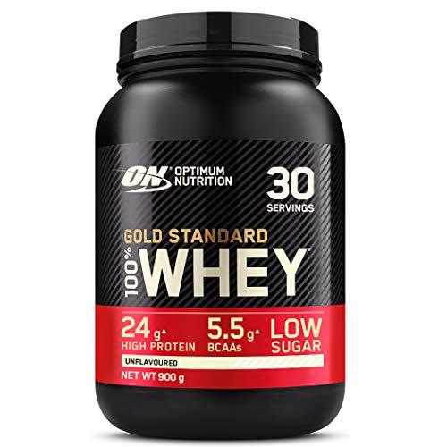Optimum Nutrition ON Gold Standard Whey Protein Pulver, Eiweißpulver zum Muskelaufbau, natürlich enthaltene BCAA und Glutamin, Unflavoured, 30 Portionen, 900g, Verpackung kann Variieren