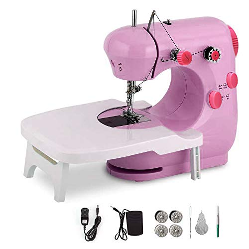 Sewing machine,portable multifunctional electric sewing adjustable speed 2-speed double thread sewing machine with extension table, foot pedal ,suitable for beginners, children, handmade DIY, , very suitable for family travel...