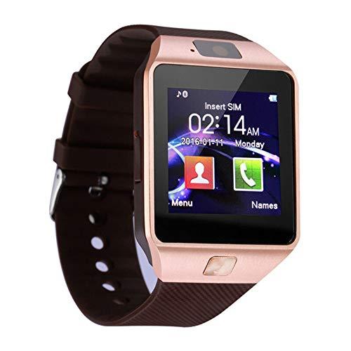 Smart Watch Digital Hombres Reloj para Apple iPhone Samsung Android Teléfono Móvil Bluetooth SIM TF Tarjeta Cámara Pulseras (Color : Golden)