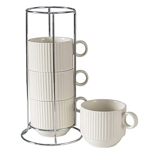 Hasense Stackable Porcelain Coffee Mugs Set of 4 with Metal Stand, 11 Ounce Espresso Cups Perfect for Coffee Latte and Tea, White