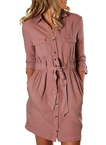 Happy Sailed Damen Langarm V-Ausschnitt Elegant Kurz Blusenkleid Hemdkleid Shirt Kleid Oberteil Kleid Minikleid mit Gürtel,Pink,S