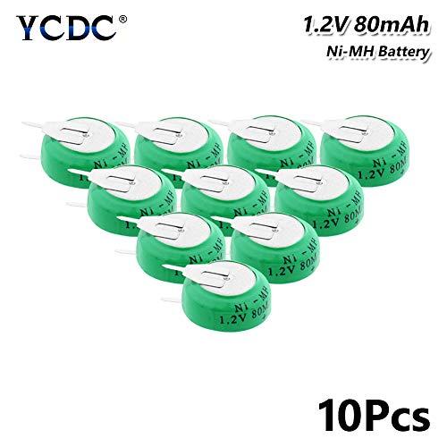 Paquete de 10 pilas recargables de botón Ni-MH de 1,2 V y 80 mAh, recargables con 2 clavijas, 10 unidades de botón de 1,2 V 80 mAh Ni-MH con pestañas de soldadura