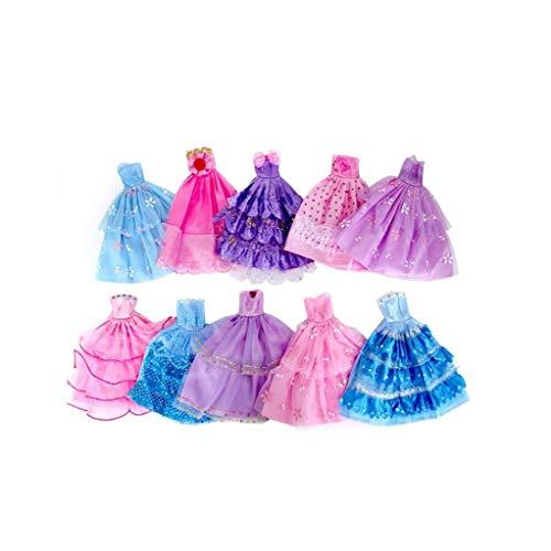 10 Piezas Hechas a Mano Fiesta de la Boda de la Novedad de los Vestidos de Ropa para la muñeca (Color al Azar/Estilo)